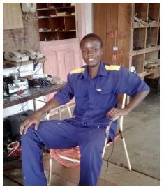 Mwakibe Kapinga, apprentice electrician at Ndanda VTC