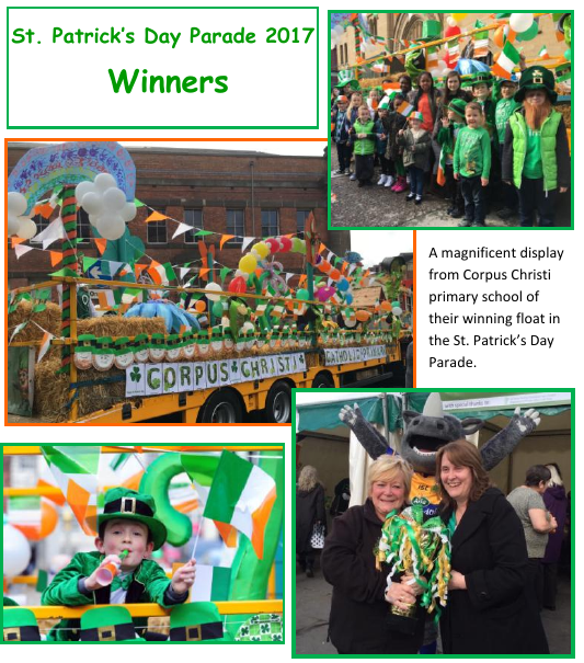 A magnificent display from Corpus Christi primary school of their winning float in the St. Patrick�s Day Parade.