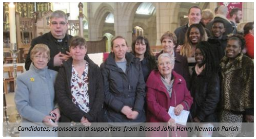 Candidates, sponsors and supporters from Blessed John Henry Newman Parish