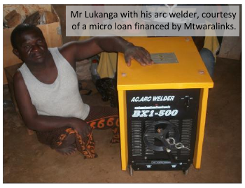 Mr Lukanga with his arc welder, courtesy of a micro loan financed by Mtwaralinks.