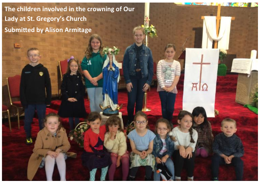 The children involved in the crowning of Our Lady at St. Gregory